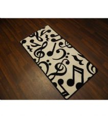 Approx 4x2 60cm x 110cm Novelty Nice Music Mats Non Slip Washable White/Black